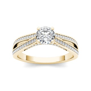 De Couer 14k Yellow Gold 1ct TDW White Diamond Engagement Ring (H-I, I2)
