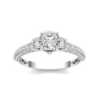 De Couer 14k White Gold 1 1/2ct TDW Diamond Three-stone Anniversary Ring (H-I, I2)