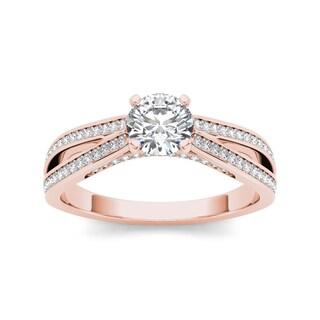 De Couer 14k Rose Gold 1ct TDW White Diamond Engagement Ring (H-I, I2)
