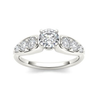 De Couer 14k White Gold 3/4ct TDW White Diamond Engagement Ring (H-I, I2)