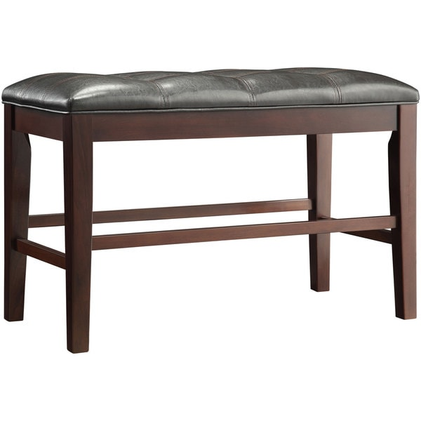 Counter Height Upholstered Bench : TRIBECCA-HOME-Colyton-Black-Brown-Counter-Height-Upholstered-Bench ...