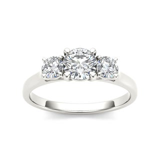 De Couer 14k White Gold 1 1/4ct TDW Three Stone Diamond Engagement Ring (H-I, I2)