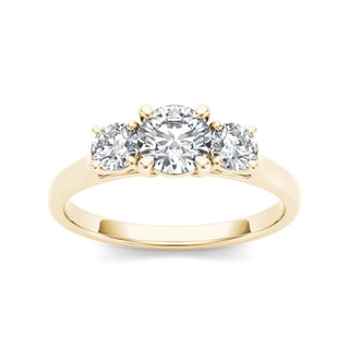 De Couer 14k Yellow Gold 1 1/4ct TDW Three-stone Diamond Engagement Ring (H-I, I2)