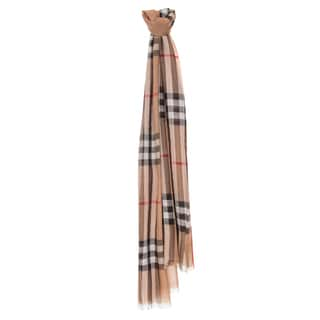 Burberry Beige Giant Check Wool/ Silk Wrap Scarf