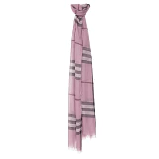 Burberry Pink Giant Check Wool/ Silk Wrap Scarf