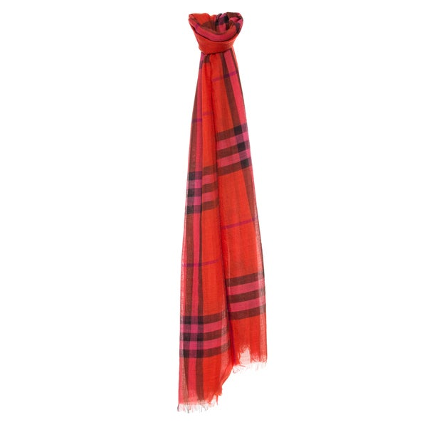 Burberry Orange Red Giant Check Wool/ Silk Wrap Scarf