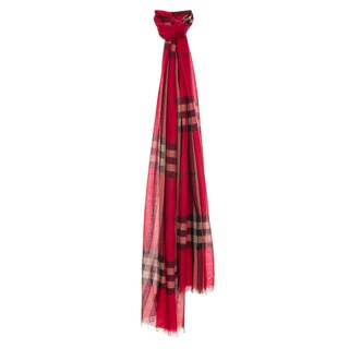 Burberry Bright Red Check Wool/ Silk Wrap Scarf