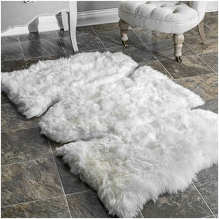 nuLOOM Alexa Handmade Sheepskin Three Piece Natural shag Rug (3' x 5')