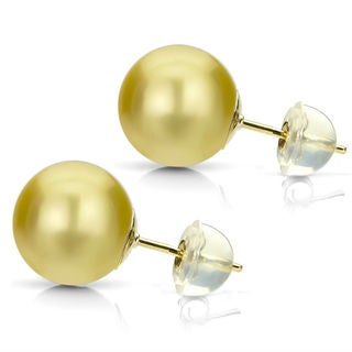 DaVonna 14k Yellow Gold Golden South Sea Pearl Stud Earrings (11-12 mm)