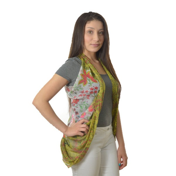 LA 77 Cream Floral and Paisley Mixed Print Scarf