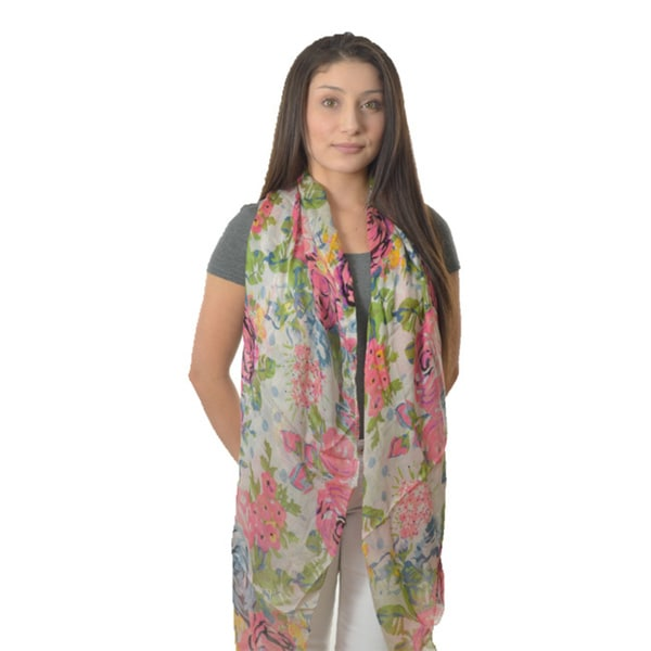LA 77 Pink Rose Print Long Lightweight Scarf