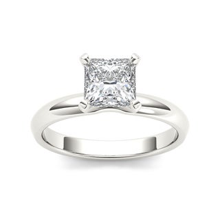 De couer 14k White Gold 1ct TDW Diamond Princess-cut Solitaire Engagement Ring (H-I, I2)