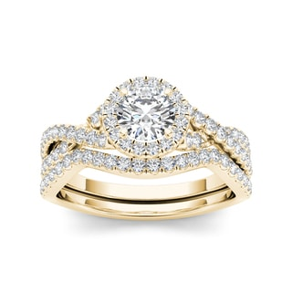 De Couer 14k Yellow Gold 1ct TDW Diamond Engagement Ring (H-I, I2) with Bonus Necklace