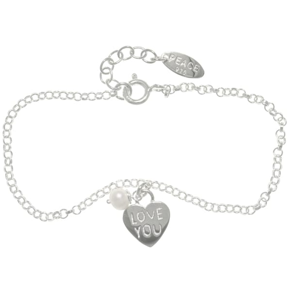 CGC Sterling Silver Heart Charm Chain Bracelet with 'Love You' Message, Pearl and Peace Tag (4.6 mm)