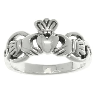 Carolina Glamour Collection Sterling Silver Celtic Claddagh Heart and Crown Ring