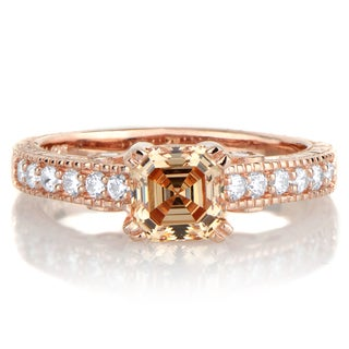 Rose Gold Over Sterling Silver 1 1/4ct TGW Peach Cubic Zirconia Engagement Ring