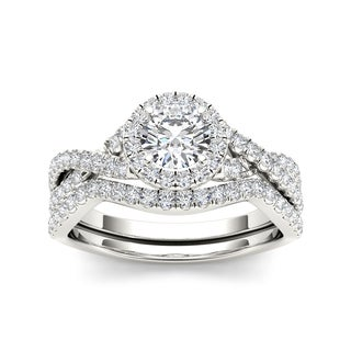 De Couer 14k White Gold 1ct TDW Diamond Twist Shank Engagement Ring Set (H-I, I2)