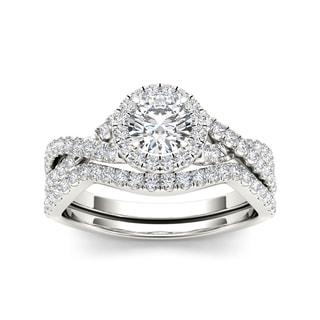 De Couer 14k White Gold 1ct TDW Diamond Twist Shank Engagement Ring Set (H-I, I2) with Bonus Necklace