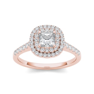 De Couer 14k Rose Gold 1 1/10ct TDW White Diamond Double Halo Engagement Ring (H-I, I2)