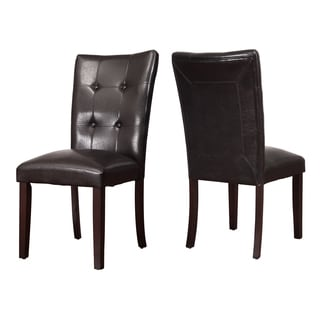 Adeco Brown Leatherette Wood High Back Dining Chairs (Set of 2)