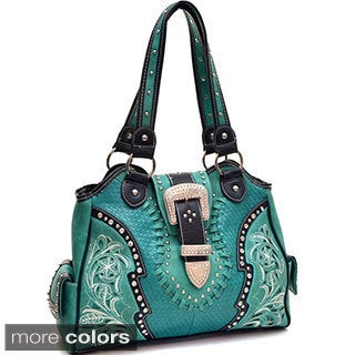 Stitched and Studded Western Buckle Bag