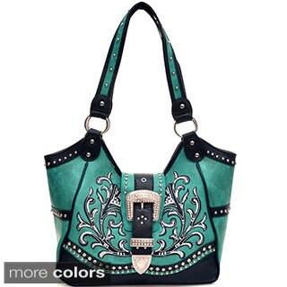 Studded Buckle Embroidered Western Shoulder Bag