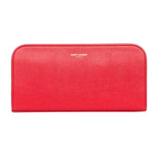 Saint Laurent Classic Red Zip Around Leather Wallet