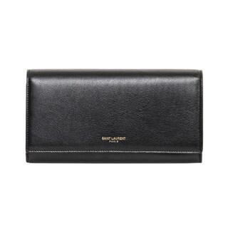 Saint Laurent Large Black Leather Flap Wallet