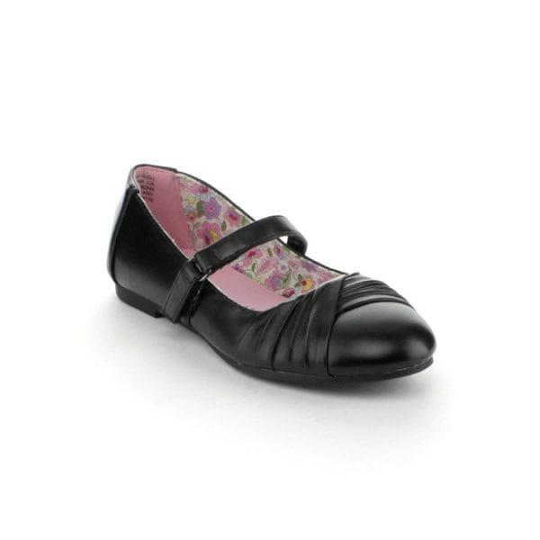 Little Angel 'Lola-768E' Kid Girl's Black Mary Jane Ballet Flats