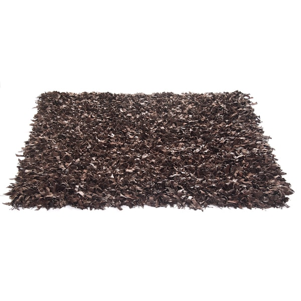 Brown Leather Shaggy Rug (2' x 7'6)