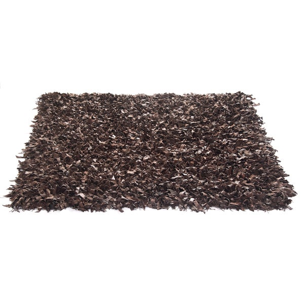 Brown Leather Shaggy Rug (3' Round)
