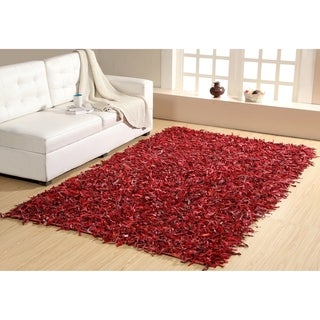 Red Leather Shaggy Rug (8' x 10')