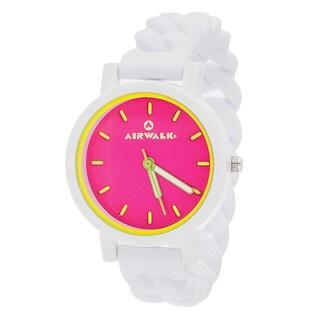 Airwalk Pink Dial Silicone Stretch Enamel Round White Watch