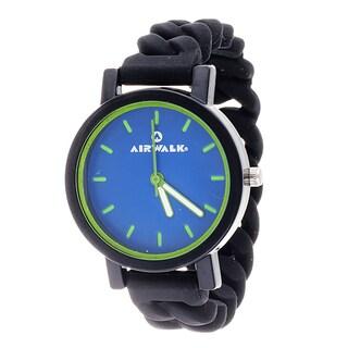 Airwalk Blue Dial Silicone Stretch Enamel Round Black Watch