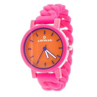 Airwalk Orange Dial Silicone Stretch Enamel Round Pink Watch