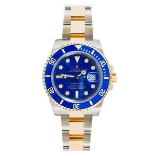 Pre-Owned Rolex Men's Submariner 116613 18k Blue Diamond Dial Watch