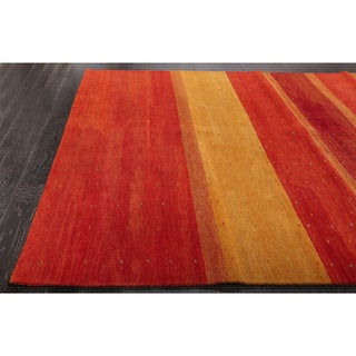 Stripe Red and Gold Wool Rug (9 x 12)