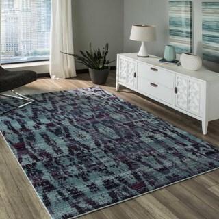 Momeni 'Casa 3' Blue Abstract Texture Area Rug (7'10 x 9'10)