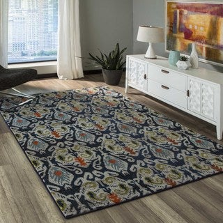 Momeni 'Casa 2' Navy and Multicolored Abstract Geometric Rug (9'3 x 12'6)