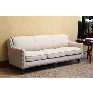 ABBYSON LIVING Monica Pedersen Grey Linen Nailhead Sofa