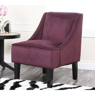 Abbyson Living Cameron Purple Suede Swoop Chair