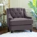 ABBYSON LIVING Claridge Dark Grey Velvet Fabric Tufted Armchair