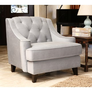 ABBYSON LIVING Claridge Steel Blue Velvet Fabric Tufted Armchair