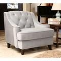 ABBYSON LIVING Claridge Steel Blue Velvet Fabric Tufted Armchair