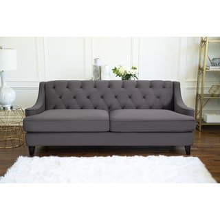 ABBYSON LIVING Claridge Dark Grey Velvet Fabric Tufted Sofa