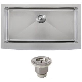 Ticor 4415BG-BASK 36-inch 16-gauge Stainless Steel Curved Front Undermount Apron Kitchen Sink