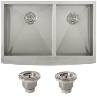 Ticor 4401BG-BASK Undermount Curved Front Double Bowl Kitchen Sink