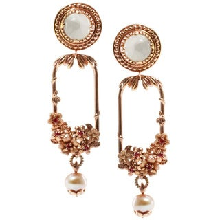 Dallas Prince Rose Gold over Silver Freshwater Pearl Earrings (6-6.5 mm)