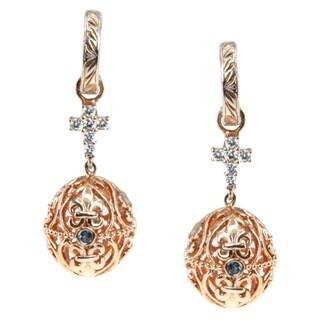 Dallas Prince Sterling Silver Filigree Egg Blue Topaz and Cubic Zirconia Dangle Earrings