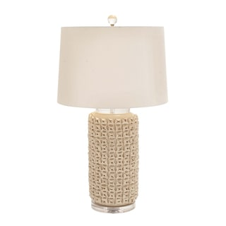Casa Cortes Ivory Hand-crafted Ceramic Floral Table Lamp